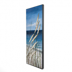 Framed 16 x 48 - 3D - Wild herbs in the wind on at the beach
