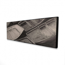 Framed 16 x 48 - 3D - Small canoes of style sepia
