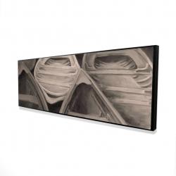 Framed 16 x 48 - 3D - Sepia canoes