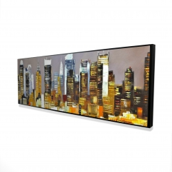 Framed 16 x 48 - 3D - Texturized skyscrapers by night