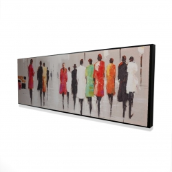 Framed 16 x 48 - 3D - People's silhouette on the street