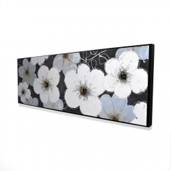 Framed 16 x 48 - 3D - Gray flowers