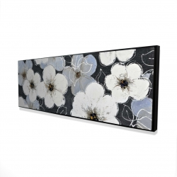 Framed 16 x 48 - 3D - White flowers with leaves outlines