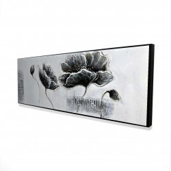 Framed 16 x 48 - 3D - Industrial style grayscale flowers