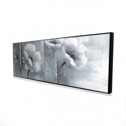 Framed 16 x 48 - 3D - Gray & white flowers