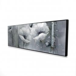 Framed 16 x 48 - 3D - Grayscale flowers