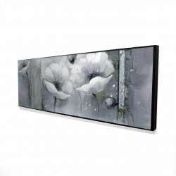 Framed 16 x 48 - 3D - Grayscale flowers