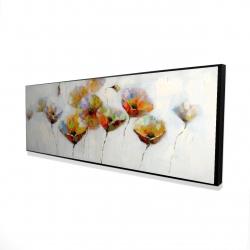 Framed 16 x 48 - 3D - Color dotted flowers