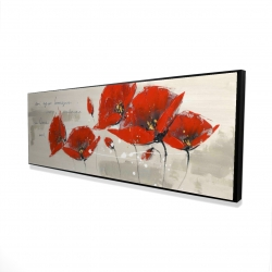 Framed 16 x 48 - 3D - Red flowers with an handwritten typo