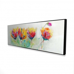 Framed 16 x 48 - 3D - Four colorful flowers