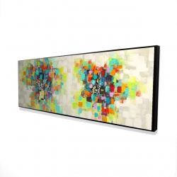 Framed 16 x 48 - 3D - Flowers made of squares