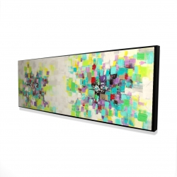 Framed 16 x 48 - 3D - Abstract squares flowers