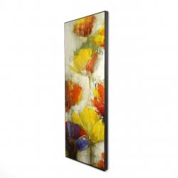 Framed 16 x 48 - 3D - Modern yellow flowers