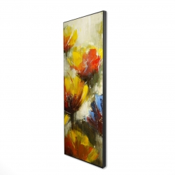 Framed 16 x 48 - 3D - Texturized yellow flowers