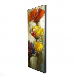 Framed 16 x 48 - 3D - Orange and yellow flowers