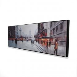 Framed 16 x 48 - 3D - Street scene with cars
