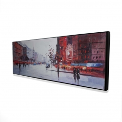 Framed 16 x 48 - 3D - Black and red street scene