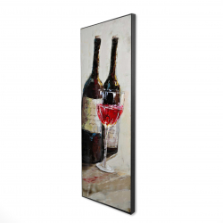 Framed 16 x 48 - 3D - Two bottles with a glass of wine