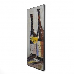 Framed 16 x 48 - 3D - Two bottles with a glass of white wine
