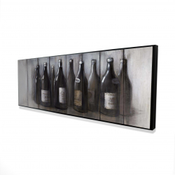 Framed 16 x 48 - 3D - Bottles of wine with wood finish