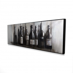 Framed 16 x 48 - 3D - Bottles of wine on wood