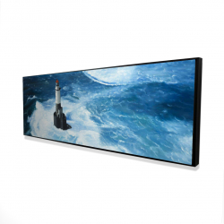 Framed 16 x 48 - 3D - Unleashed waves on a lighthouse