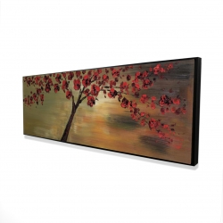 Framed 16 x 48 - 3D - Red flowers tree