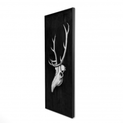 Framed 16 x 48 - 3D - Deer skull in the dark