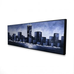 Framed 16 x 48 - 3D - Dark blue cityscape