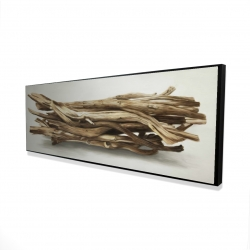 Framed 16 x 48 - 3D - Floated wood left by the sea