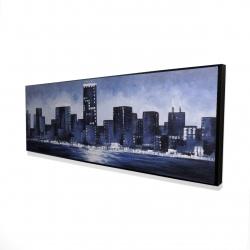 Framed 16 x 48 - 3D - Marine blue city