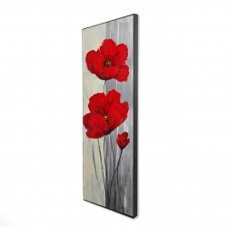 Framed 16 x 48 - 3D - Red flowers on a gray background