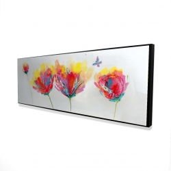 Framed 16 x 48 - 3D - Colorful flowers with a butterfly