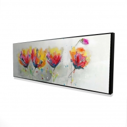 Framed 16 x 48 - 3D - Four colored flowers on gray background