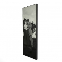 Framed 16 x 48 - 3D - Vintage couple kissing