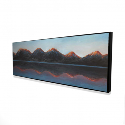 Framed 16 x 48 - 3D - Mountains and calm lake