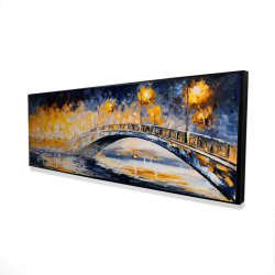 Framed 16 x 48 - 3D - Bridge in the moonlight