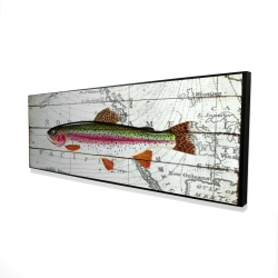 Framed 16 x 48 - 3D - Trout on a world map