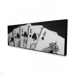 Framed 16 x 48 - 3D - Black and white card game