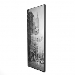 Framed 16 x 48 - 3D - Morning in the streets of new-york city monochrome