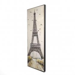 Framed 16 x 48 - 3D - Eiffel tower with flying birds