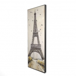 Framed 20 x 60 - 3D - Eiffel tower with flying birds