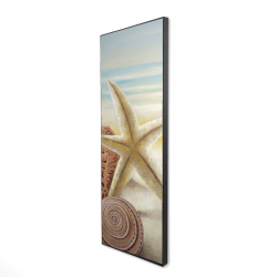 Framed 16 x 48 - 3D - Starfish and seashells at the beach