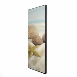 Framed 16 x 48 - 3D - Starfish and seashells view on the beach