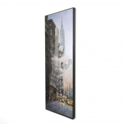 Framed 16 x 48 - 3D - Morning in the streets of new-york city