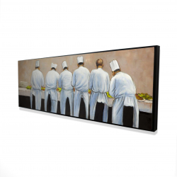 Framed 16 x 48 - 3D - Cooks chefs working together