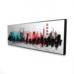Framed 16 x 48 - 3D - Cityscape with rose gold colors