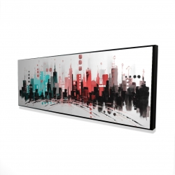 Framed 16 x 48 - 3D - Colorful city with rose gold lines