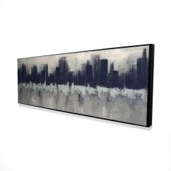 Framed 16 x 48 - 3D - City by sponge technique