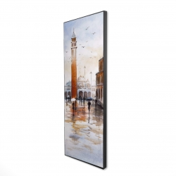Framed 16 x 48 - 3D - City sketch with a tower